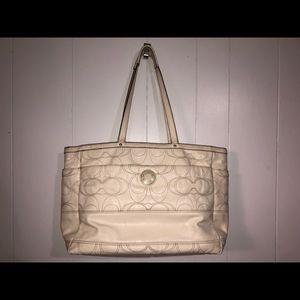 COACH Cream Laptop Bag.